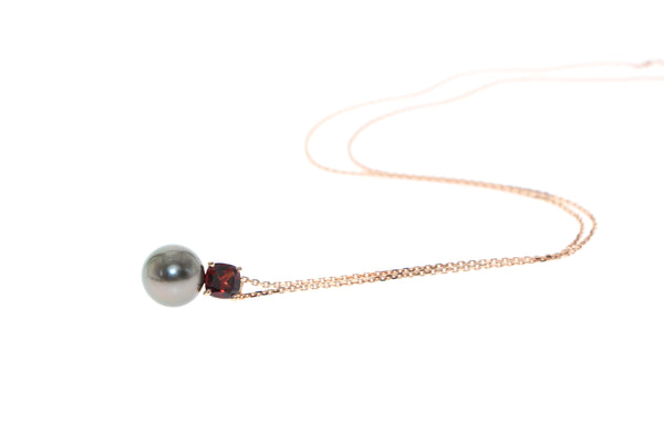 Tamahra Prowse garnet and tahitian pearl pendant in rose gold