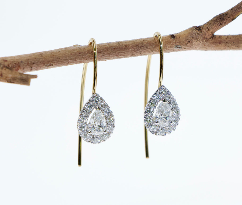 Tamahra Prowse bespoke jewellery design, diamond and gold earrings.