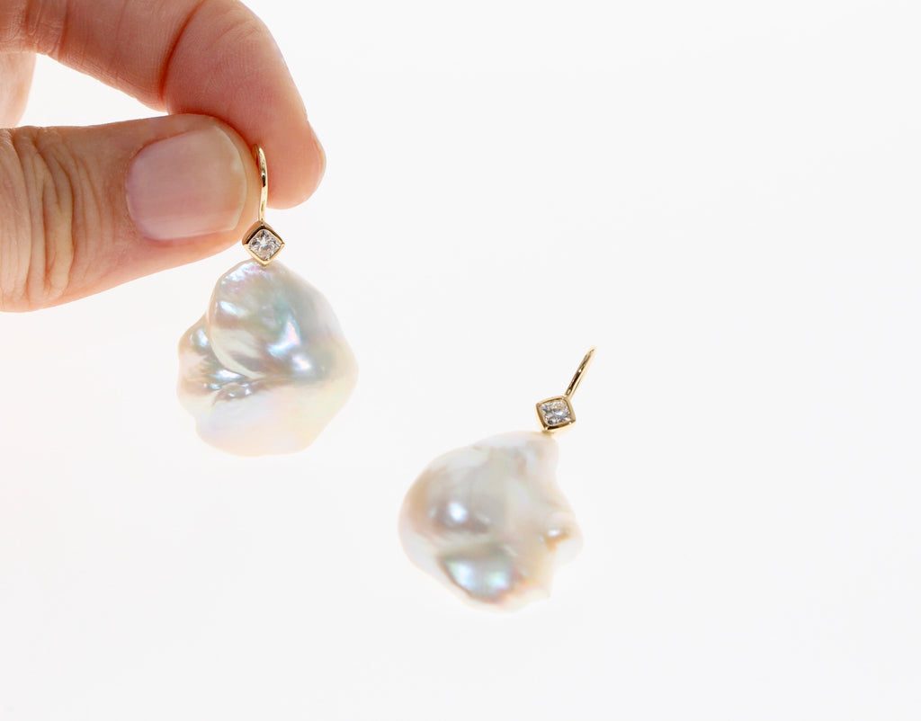 Tamahra Prowse baroque pearl and diamond earrings