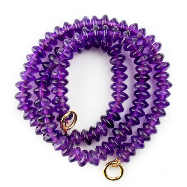 Amethyst necklace with polished beads, designed by jeweller Tamahra Prowse.