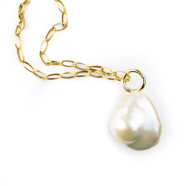 Baroque pearl pendant in 14 karat gold by Tamahra Prowse.