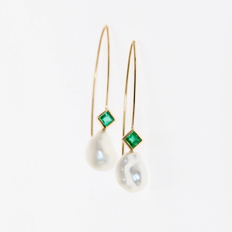 Tamahra Prowse design emerald and keshi pearl drop earrings