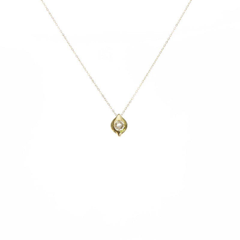 Tamahra Prowse jewellery design. Solitaire champagne diamond and 18ct gold pendant.