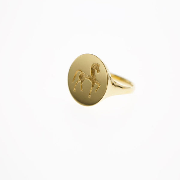 Greek horse gold signet ring