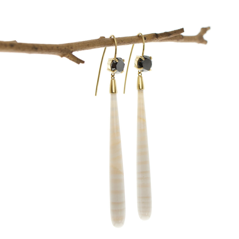 Tamahra Prowse jewellery design. Black diamond and striped chalcedony 18ct gold earrings.