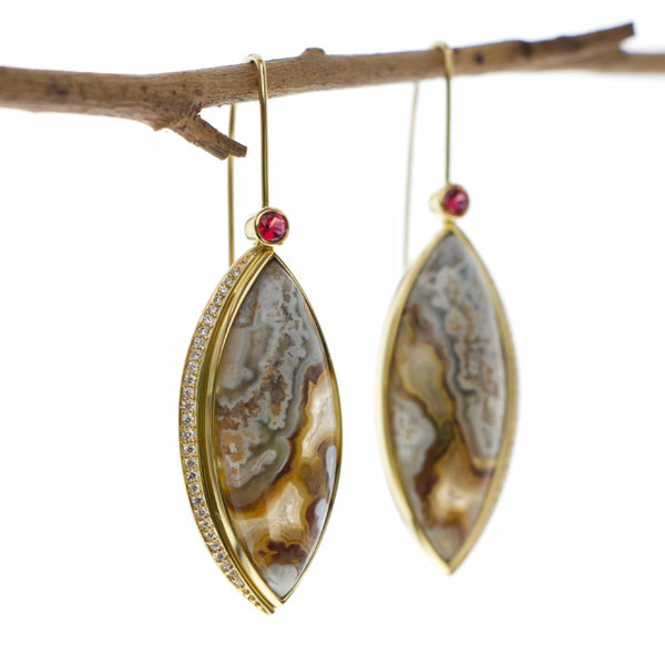 Tamahra Prowse Jasper, diamond and red spinel gold earrings. Custom design jewellery.