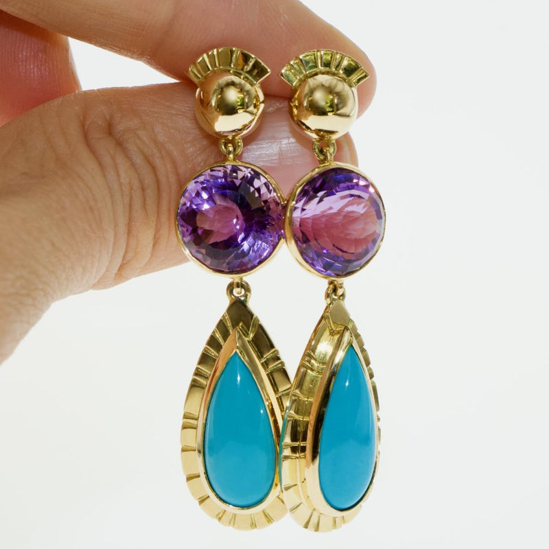 Tamahra Prowse amethyst and turquoise gold earrings. Large drop earrings with bold gemstones.