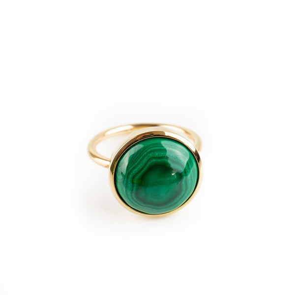 Malachite ring, round cabochon set in 9kt gold. Ring by designer Tamahra Prowse