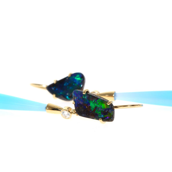 Tamahra Prowse boulder opal and laguna agate long drop earrings with diamonds in 18 karat gold.