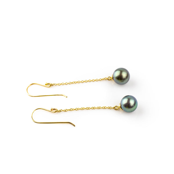 Tahitian pearls on 14 kt chain drop earrings by Tamahra Prowse.
