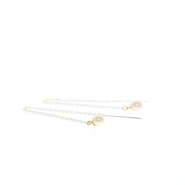 Tiny pearl threader earrings in silver and gold by Tamahra Prowse