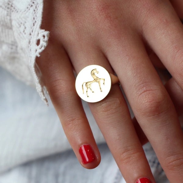 Gold signet ring with greek horse hand engraved by Tamahra Prowse