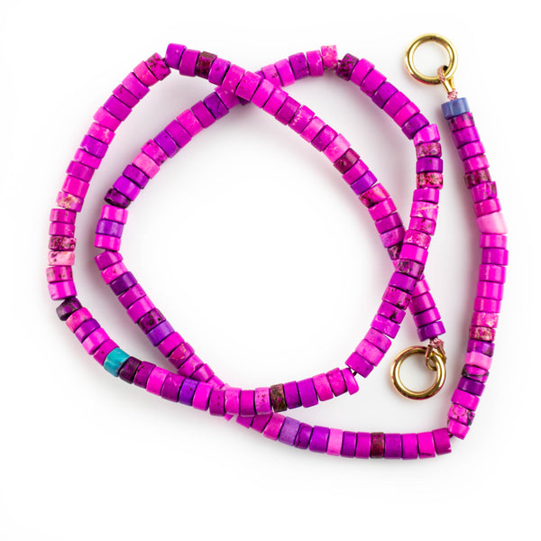 Hot pink dyed howlite necklace with solid gold accents by Tamahra Prowse