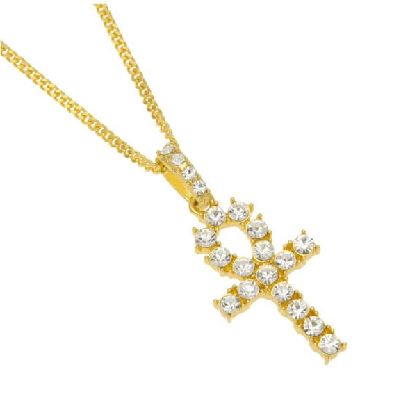 Iced out Hip Hop Egyptian Cross Pendant