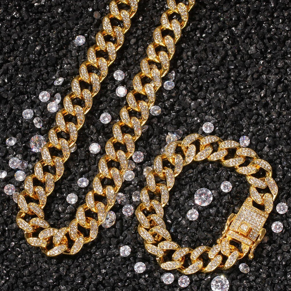 13mm Iced Out Miami Cuban Set
