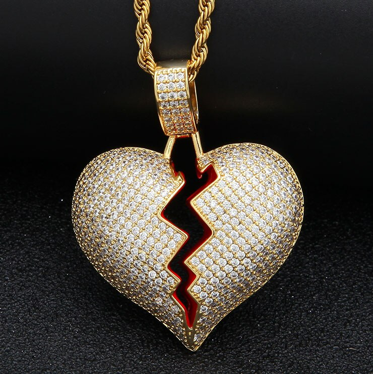 Red Broke Heart Necklace & Pendant