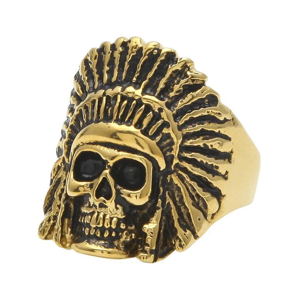Vintage Oil Indian Chiefs Head Skull Ring