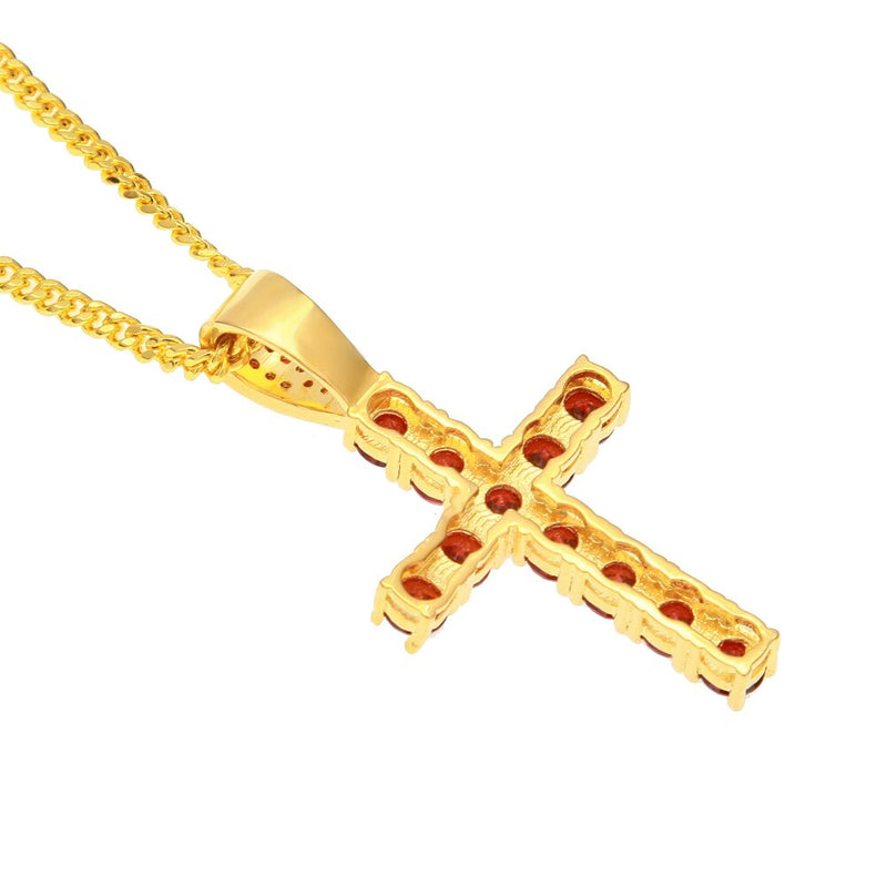 Colored Crystal Cross Pendant