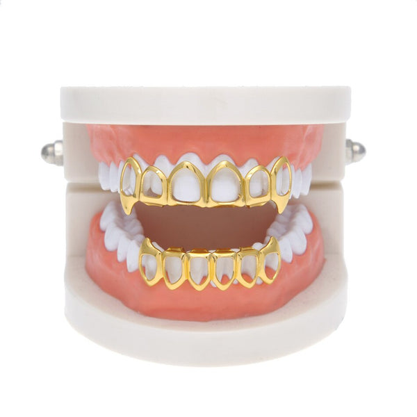 Six Hollow Open Face Gold Mouth Grill