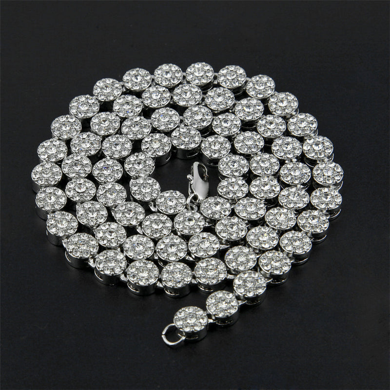 Iced Out Round Shape Necklace 76cm