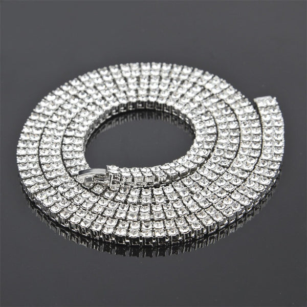2 Row Crystal Rhinestone Luxury Necklace 30""
