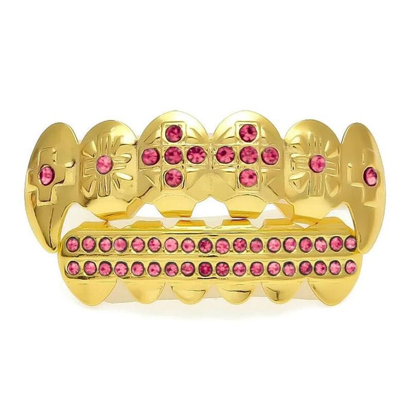 Iced Out Cross Red Teeth Grill Set