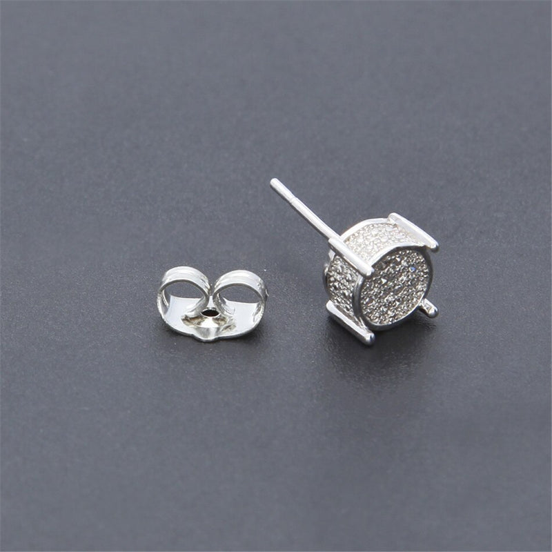 Full Zircon Round Stud Earrings