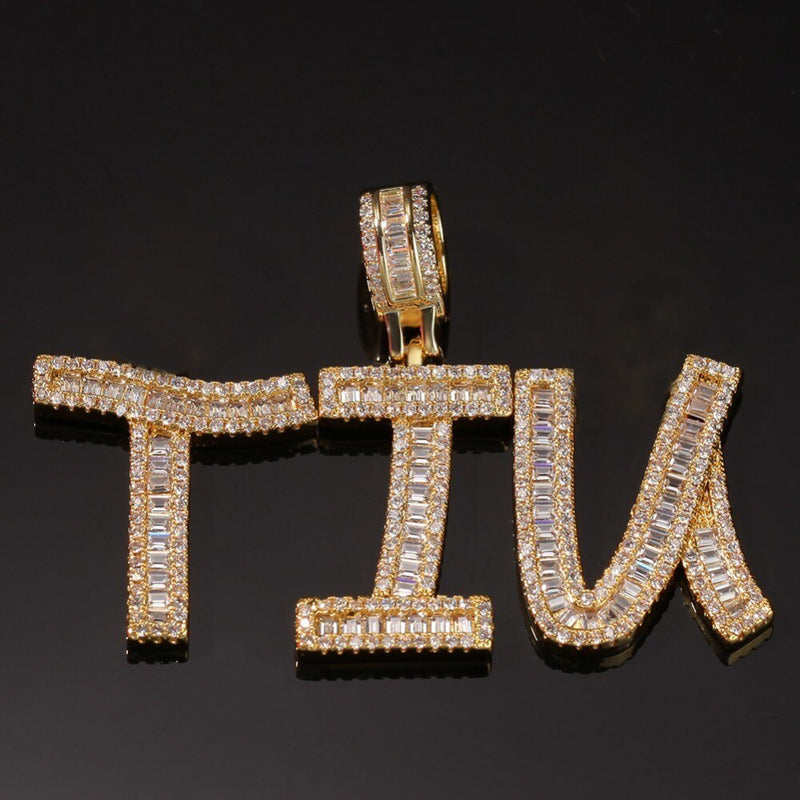 Custom Baguette Letters Name Necklace