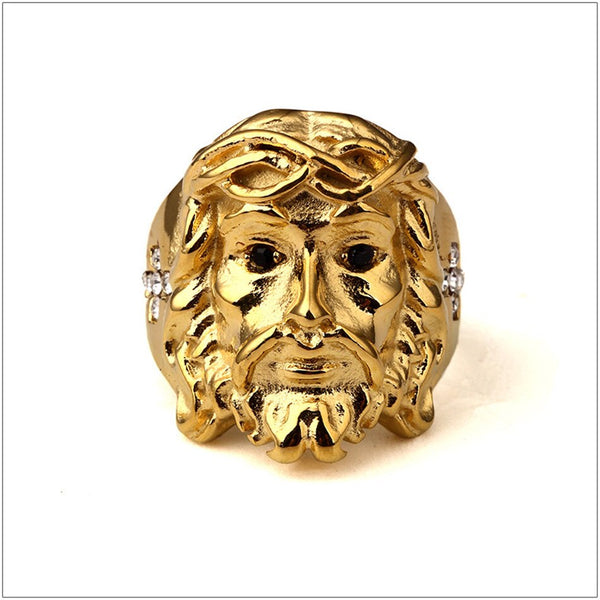 Vintage Jesus Head Cross Ring