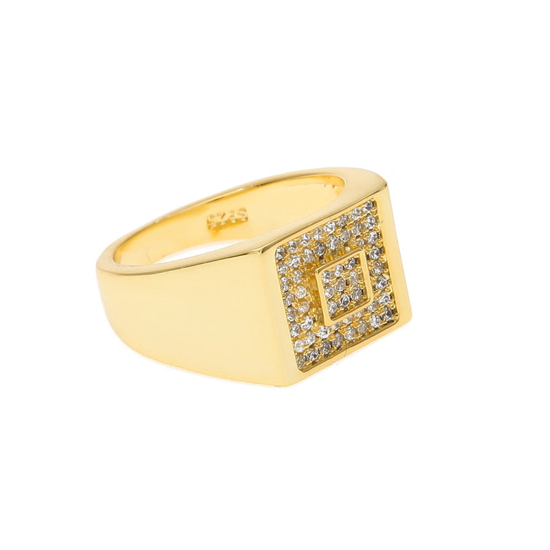 Iced Out Bling Rhinestone Square Ring