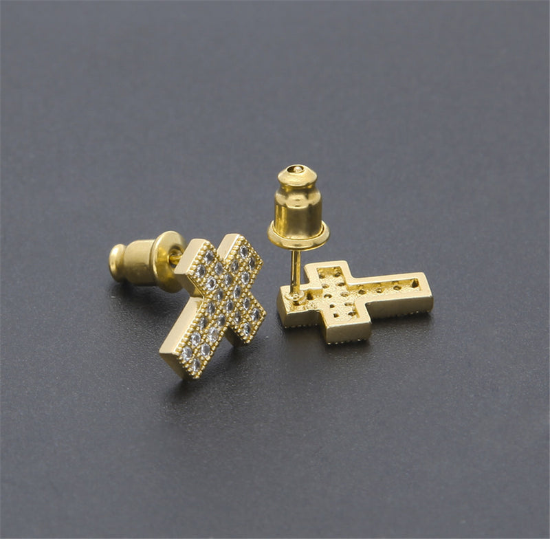 Cross Shine Iced Out Stud Earrings
