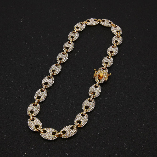 13mm Coffee Bean Link Rhinestone Necklace