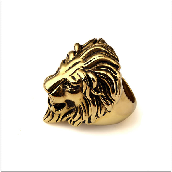 Vintage Golden Oil Lion Head Ring