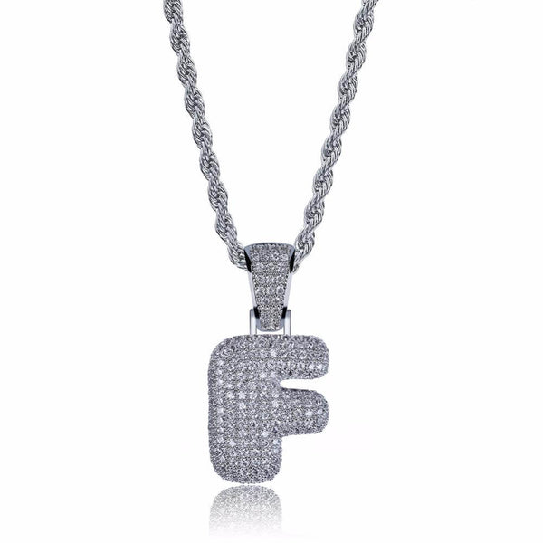 WHITE GOLD Custom Bubble Letters Pendant