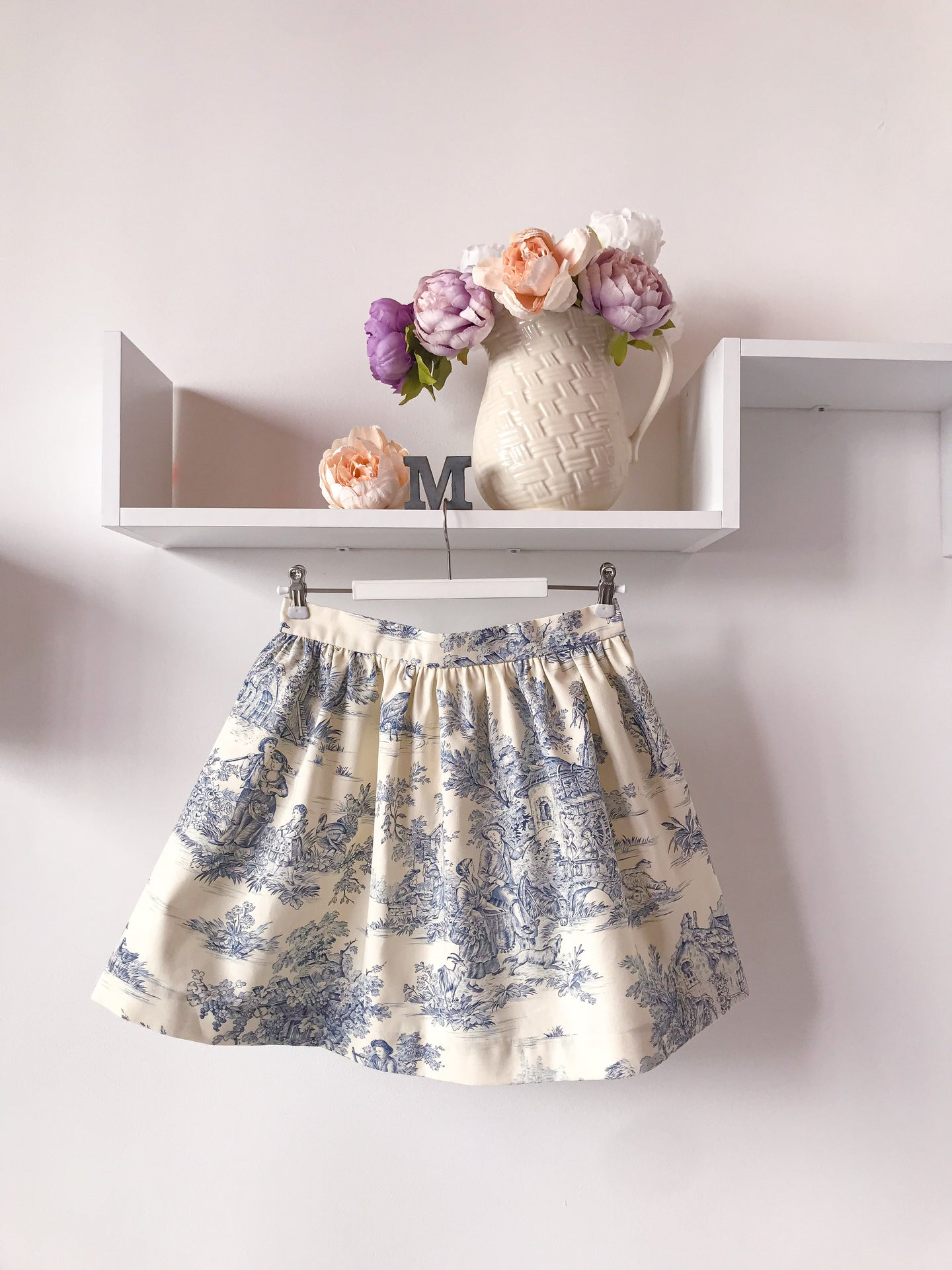 Mini gonna  sartoriale MoodS - Toile de Jouy azzurro - Disponibile su ORDINAZIONE