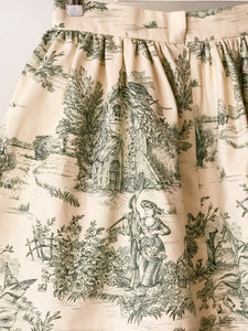 Mini gonna  sartoriale MoodS - Toile de Jouy verde - Disponibile su ORDINAZIONE