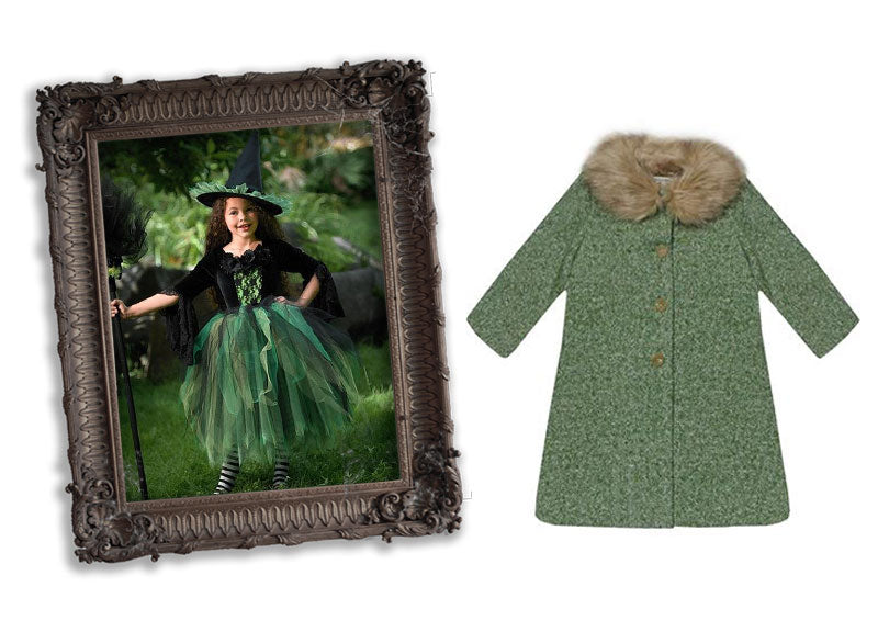 milliemanu-orla-tweed-winter-children's-coat-with-faux-fur-collar-halloween-green-witch