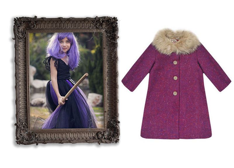 milliemanu-orla-magenta-tweed-children's-winter-coat-with-faux-fur-collar-halloween-purple-witch
