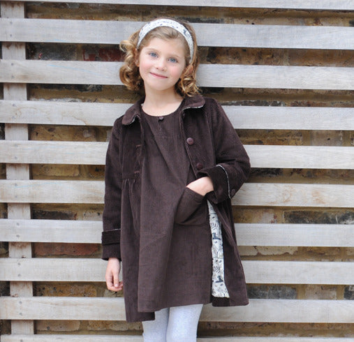francesca coat - chocolate thick cord