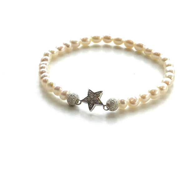 Fresh Water White Pearls and Silver Star Bracelet