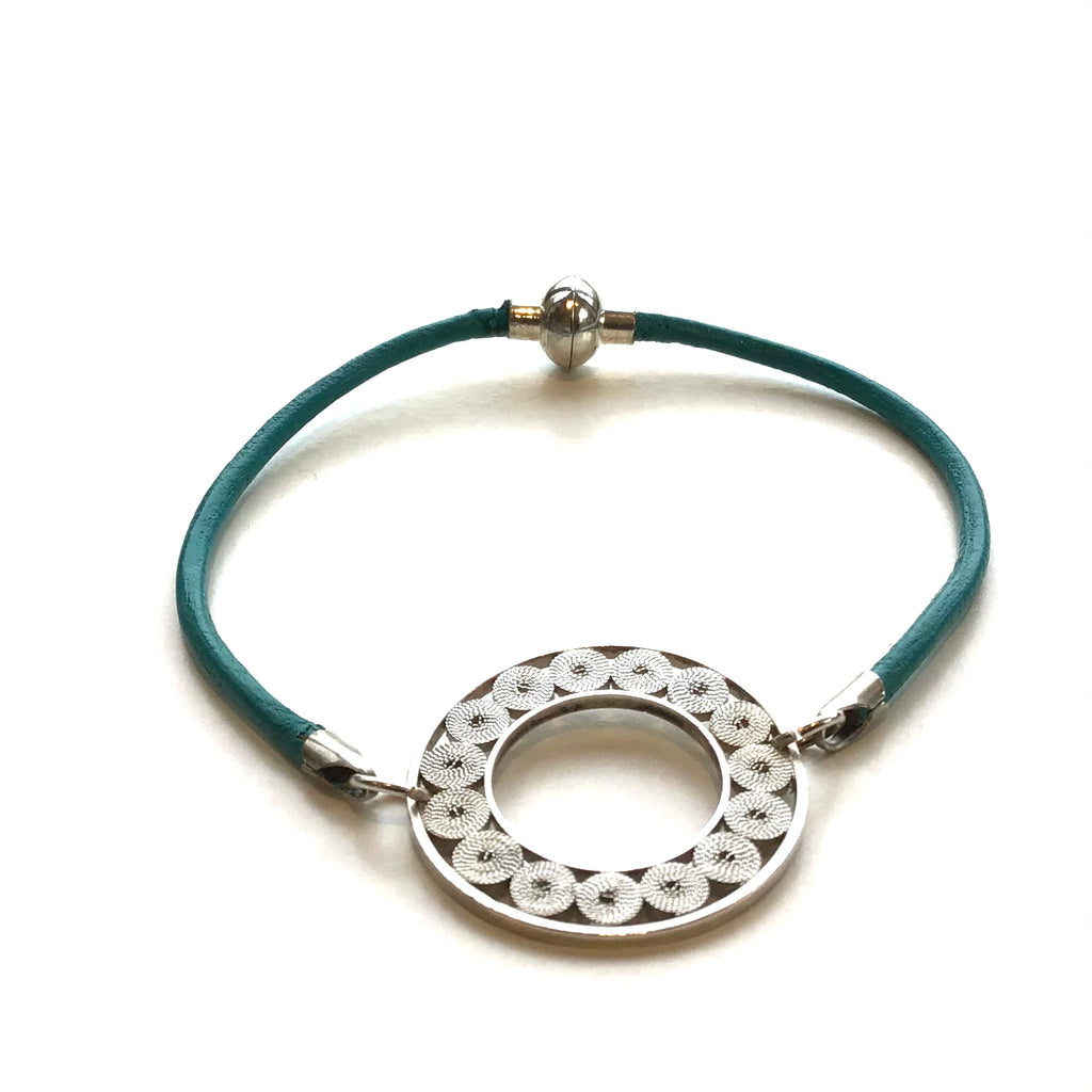 Filigree Circle and Leather Bracelet
