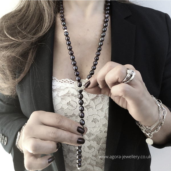 Pearl Lariat Silver Filigree Necklace