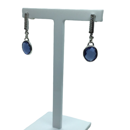 Tanzanite and Sterling Silver Earrings - Agora Jewellery London