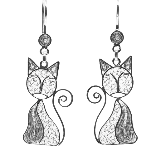 Filigree Cat Earrings - AG Agora Jewellery London