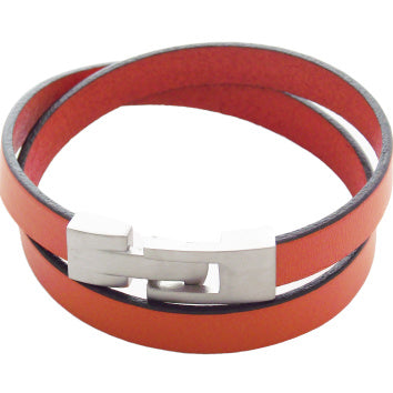 Liberty Leather Bracelet - Orange - AG Agora Jewellery London