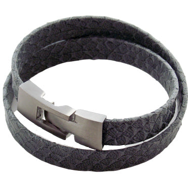 Liberty Leather Bracelet - Grey - Agora Jewellery London