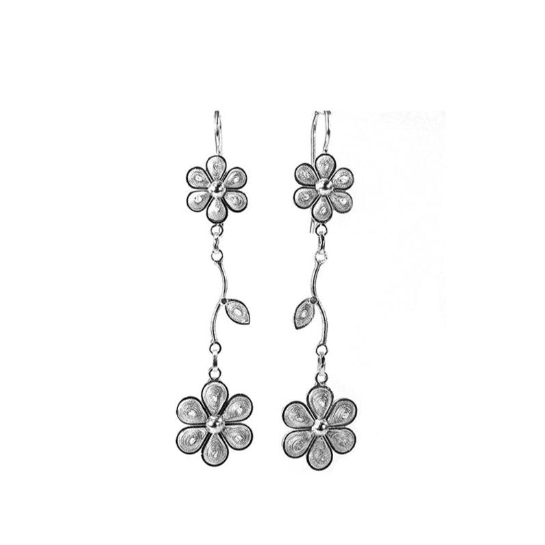 Filigree Sandy Flower Drop Earrings - Agora Jewellery London