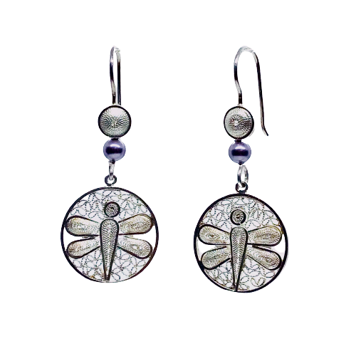Filigree Dragonfly and Pearls Drop Earrings - Agora Jewellery London