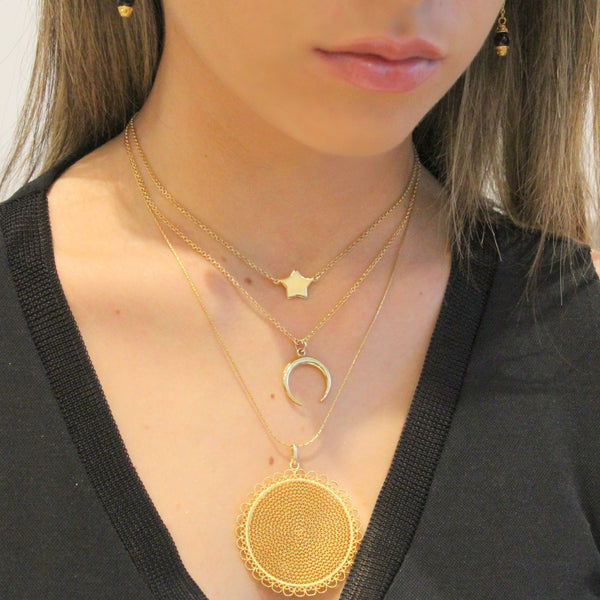 Filigree Sunflower Pendant - AG Agora Jewellery London