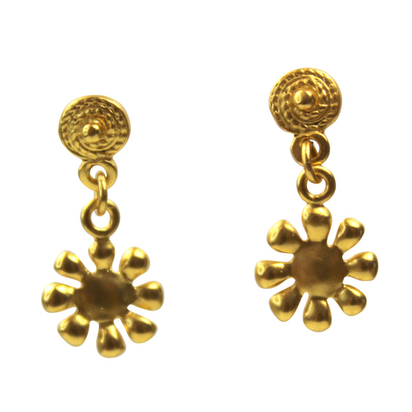 Small Sun Gold Earrings